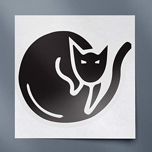 USC DECALS Cat Sleeping (Black) (Set of 2) Premium Waterproof Vinyl Decal Stickers for Laptop Phone Accessory Helmet Car Window Bumper Mug Tuber Cup Door Wall Decoration