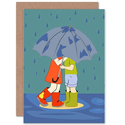 Wee Blauwe Coo KINDEREN KINDEREN UMBRELLA RAIN EDINBURGH WELLIES BOOTS BLANK BIRTHDAY CARD