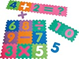 Playshoes 308745 - Puzzlematte für Babys und Kinder, Zahlen mit Rechenzeichen, Spielmatte Spielteppich, Schaumstoffmatte 16-teilig