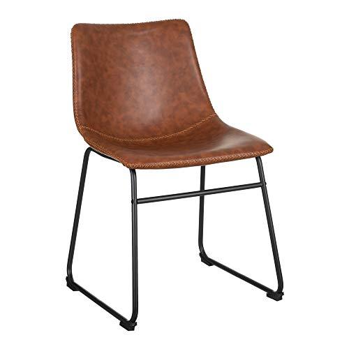 Silla Comedor Industrial marrón Polipiel de Metal de 80x54x48 cm - LOLAhome