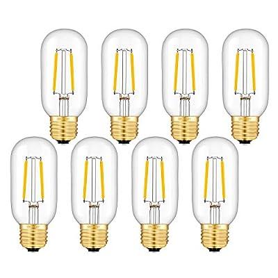OMAYKEY 2W LED Tubular Bulb 25W Equivalent 250 Lumen, 2700K Warm White E26 Base, Antique Edison T45 Tube Clear Glass Dimmable LED Filament Bulbs, Chandelier Decorative Ceiling Fan Light Bulbs, 8 Pack