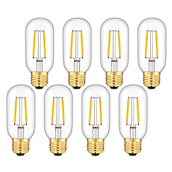 OMAYKEY 2W LED Tubular Bulb 25W Equivalent 250 Lumen 2700K Warm White E26 Base Antique Edison T45 Tube Clear Glass Dimmable LED Filament Bulbs Chandelier Decorative Ceiling Fan Light Bulbs 8 Pack