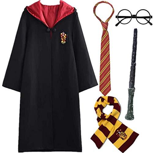 IWFREE Enfants Adultes Déguisement Uniforme Outfit Set Baguette Cravate Écharpe Lunettes Halloween Noël Anniversaire Fête Costume Cosplay S-2XL 115-155cm