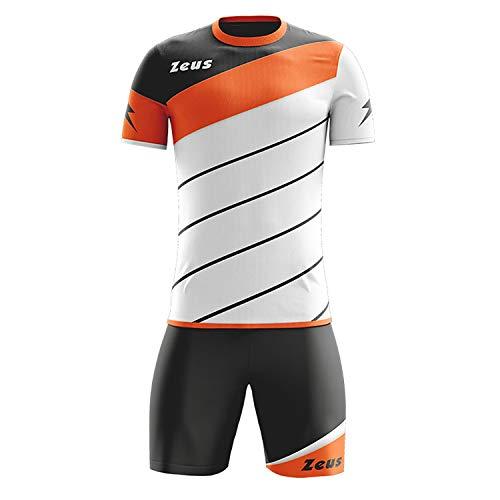 Zeus Kit Lybra Uomo Herren Kinder Trikot Shirt Hosen Klein Armel Kit Fußball Hallenfußball Weiss Orange (S)