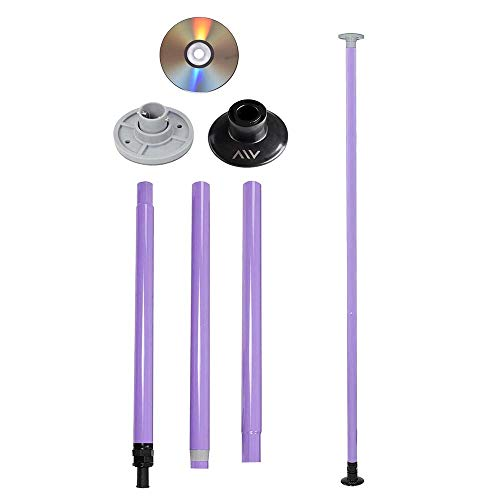 AW Static Dancing Pole Portable Full Kit Package Exercise Club Party Weight Loss 50mm with Bag(Non Rotating) Purple