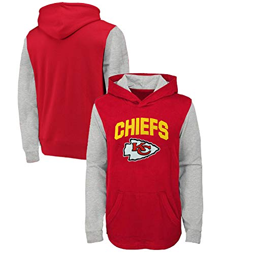 Outerstuff Kansas City Chiefs Youth Red Heathered Raglan Long Sleeve Hooded Shirt (Youth Medium 10/12)