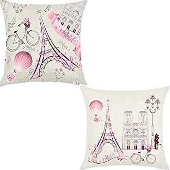 Unibedding Paris Eiffel Throw Pillow Covers Decorative Lover Theme Romantic Girls Room Cushion Covers Fall Decoration Christmas Holiday Decor 2 Pack Pink