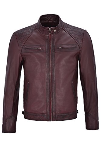 Brad Pitt Hommes Veste en Cuir Véritable Speed Racing matelassé Cherry Biker Jacket (3XL)