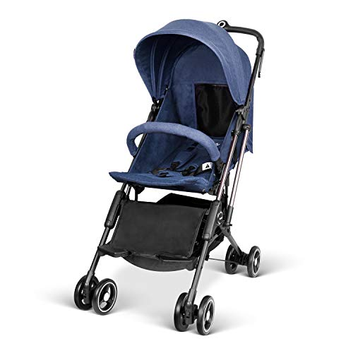 Besrey Airplane Stroller One Step Design for Opening & Folding Lightweight Baby Stroller for Infant Convertible Baby Carriage - Blue