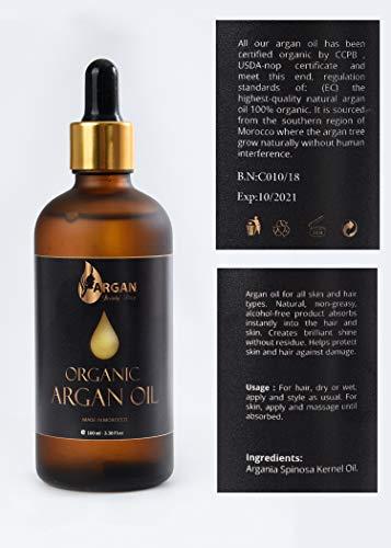 Olio d'Argan Puro Oro 100ml. Premuto a freddo triplo filtrato e purificato, 100% organico. L'olio di Argan marocchino più fine e puro, per capelli, viso, corpo, unghie. Vegan, No GMO, Paraben Free.