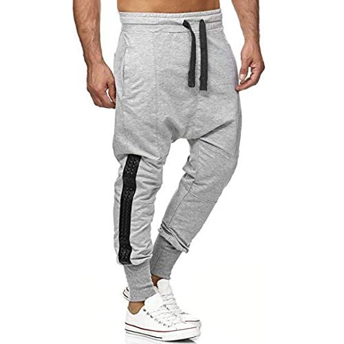 Capabes Men's Elastic-Waist Drawstring Trousers, Fashionable Personality Stitching Decorative Overalls Sweatpants, with Pocket XL Gray