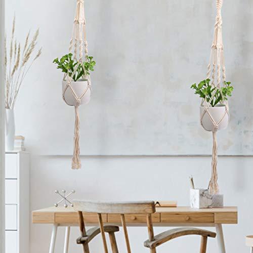 VWsiouev - Grucce per piante, in macramè, per piante, da appendere, in stile bohémien, in corda di cotone macramè, per vasi da giardino, terrazza, soffitto, 2 pezzi
