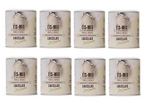 Luicella's 8er Sparpaket Eis-Mix VANILLE ROYALE - Zahl 6 bekomm 8 - 100% natürliches Eispulver zur Herstellung von Premium Speiseeis…