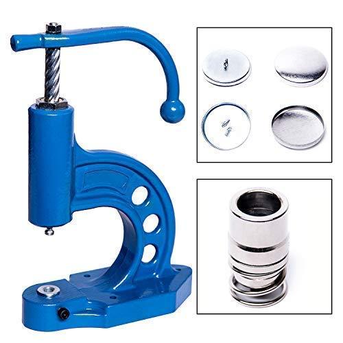 GETMORE Parts Knopfmaschinen - Set, bestehend aus Knopfpresse, Knopfwerkzeug und 100 Knopfrohlingen zum Beziehen mit Stoff - 24