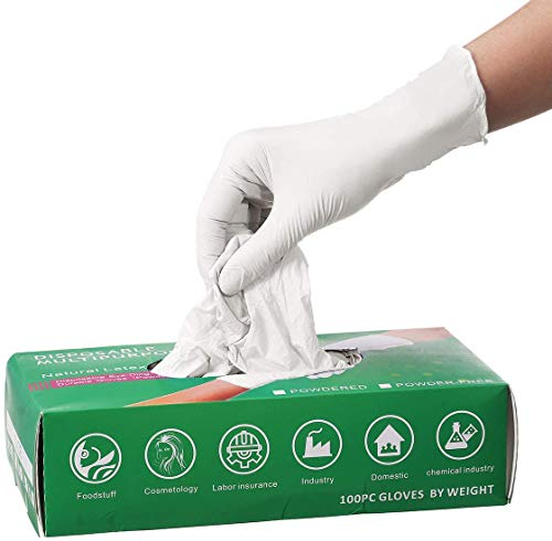 100 PCS Nitrile Disposable Gloves, Baban Disposable Gloves, Latex Free, Powder Free, Disposable Cleaning Gloves for Family Use, White (L)