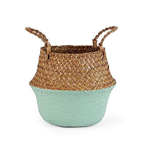 Storage Baskets laundry Seagrass Baskets Wicker Hanging Flower Pot Baskets Storage Flower Home Pot panier osier basket for toys- storage kitchen containers- clothes basket storage-Pale Olive-22cmX20cm
