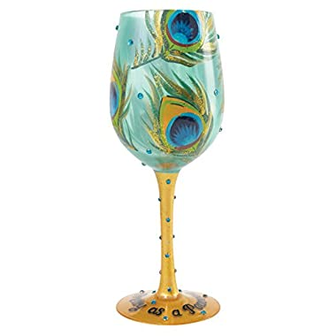 """Designs by Lolita """"Pretty as a Peacock"""" Hand-painted Artisan Wine Glass, 15 oz."""