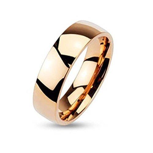 Coolbodyart - Anillo de Acero Inoxidable Unisex Dorado Rosado Diamante 6 mm de Ancho Classic Line Dome Pulido Alto Brillo - Tallas Disponibles 47 (15) - 69 (22) - Acero Inoxidable, Oro, 69 (22.0)