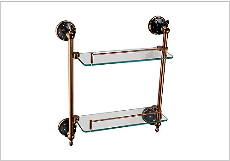 Titanium bathroom double glass shelf-@wei
