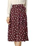 Allegra K Falda Midi con Cintura Anudada Lunares Retro para Mujer Borgoña S