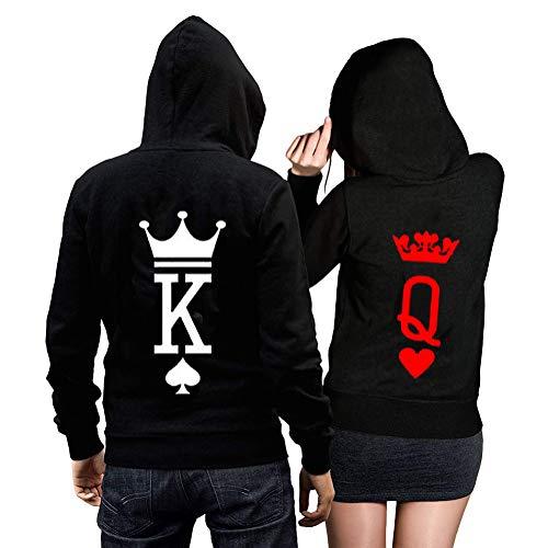 Minetom Pareja King & Queen Logo Sudaderas con Capucha Manga Larga Enc