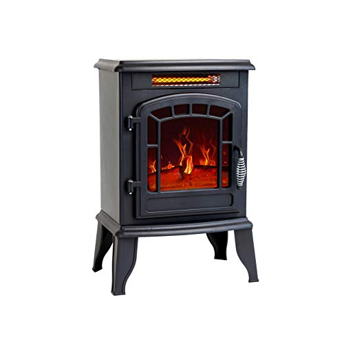 FLAME&SHADE 23 inch Electric Fireplace Wood Stove, Portable Freestanding Indoor Space Heater, 1400w