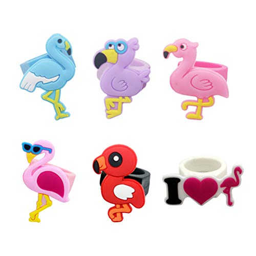 STOBOK 6 STÜCKE Flamingo Form Fingerringe Silikon Kinder Ringe Dekorative Schmuck Geburtstag Gastgeschenke für Kinder