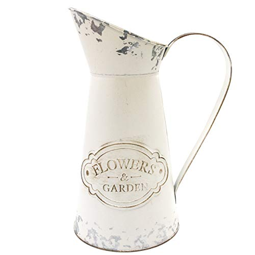 Soyizom French Country Style Vase Primitive Jug, Rustic Decor Flower Vase Shabby Chic Milk Jug Can Tin Pot Metal Farmhouse Pitcher Vase for Wedding Party Christmas Decoration,White-pitcher/11-Large