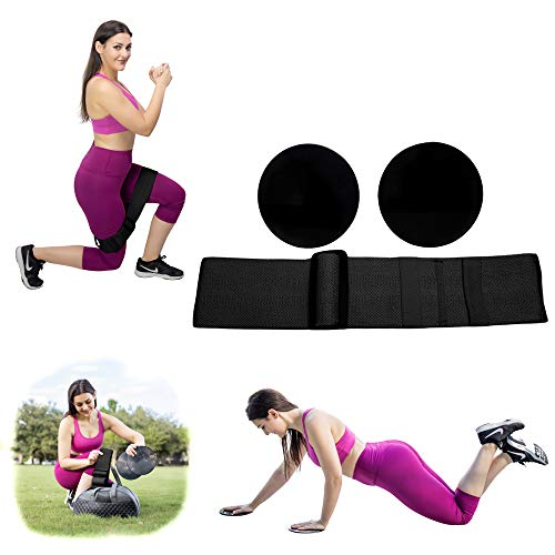 Hustle Hard Resistance Booty Bands/Loops with Core Sliders for Butt, Thigh, and Abs, All in One, Adjustable, Men/Women Exercise Band for Gym, Home, and Outdoors, Non-Slip, 3 Resistance Adjustments.