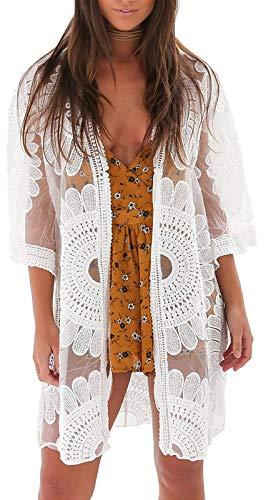 shermie Floral Kimonos for Women Beach Swimsuit Cover Up Long Kimono Cardigan White