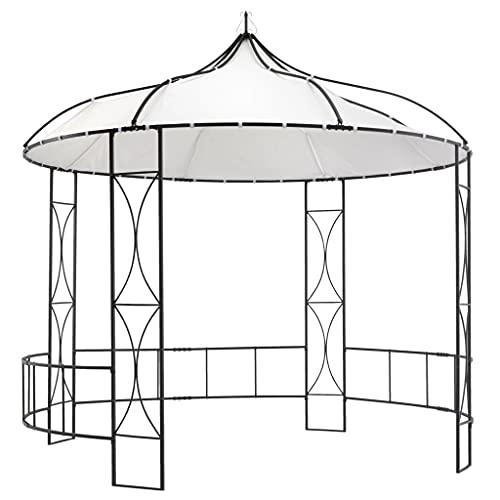vidaXL Belvédère Tonnelle Chapiteau de Jardin Tente de Réception de Patio Pavillon d Extérieur Camping Réunion de Famille 300x290 cm Blanc Rond