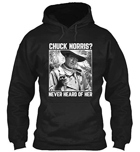 Chuck #Norris Never Heard of Her Vintage Retro #John Lovers #Wayne #Cowboy Movies Hoodie Gift for Men Women Black