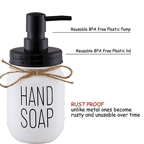 Elwiya Mason Jar Hand Soap Dispenser and Dish Soap Dispenser Set - 16 Ounce Glass Mason Jar with Plastic Pump and Lid - Rust Proof - Rustic Bathroom Accessories