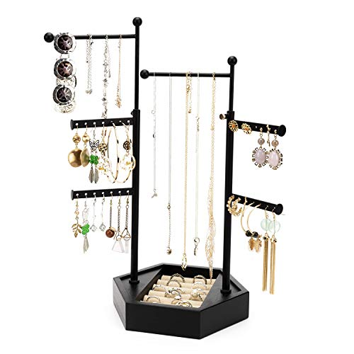 Emfogo Jewelry Organizer Tree Stand  6 Tier Jewelry Holder Stand with Adjustable Height Necklace Organizer Display for Earrings Ring Bracelet Black