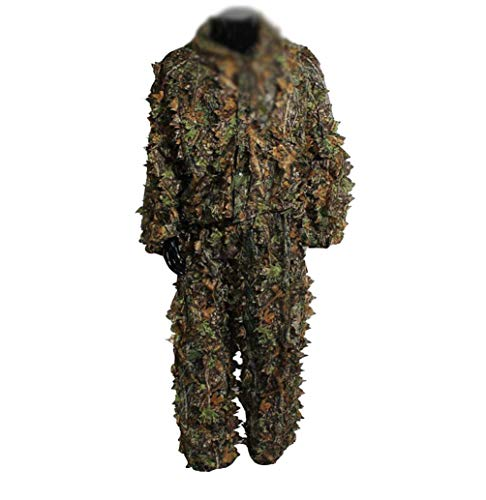 Baijiaye Ghillie Anzug Camo Dschungel Kleidung für Militär CS Dschungeljagd Paintball Airsoft Wildlife-Fotografie Halloween Free Size Grün