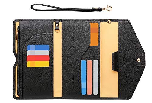 Zoppen Passport Holder Travel Wallet (Ver.5) for Women RFID Blocking Multi-Purpose Passport Cover Document Organizer Strap, Black