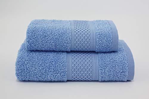 Asciugamano da bagno, Set di due asciugamani da bagno 100% cotone, morbide al tatto. Spugna di alta qualità proveniente da Portogallo peso 340gr/mq . (Celeste)