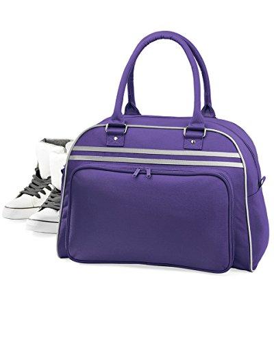 BagBase Bowlingtasche im Retro-Stil Gr. Einheitsgröße, Violett / Hellgrau