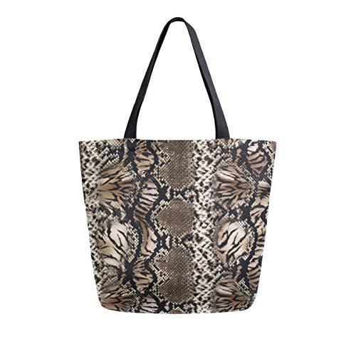 RXYY - Bolsa de lona con estampado de piel de serpiente de leopardo, resistente, grande, informal, para mujer,...