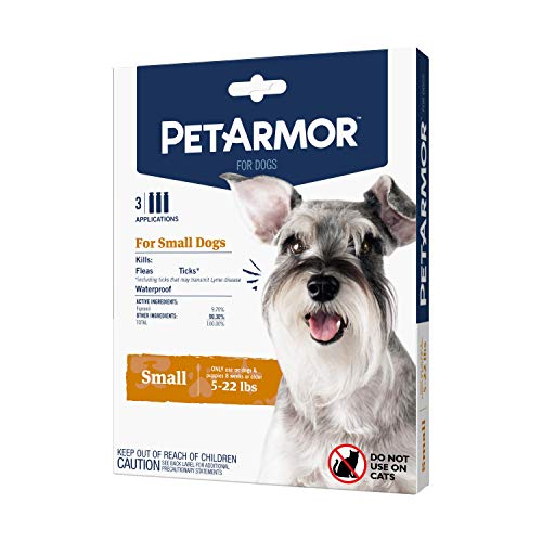 PetArmor for Dogs Flea and Tick Treatment for Small Dogs 522 Pounds Includes 3 Month Supply of Topical Flea Treatments