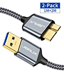 JSAUX Cable Micro USB 3.0 [1M+2M,2PC] Cable Disco Duro Externo 3.0 para Seagate, Toshiba Canvio, Western Digital (WD) My Passport and Elements, Samsung Galaxy S5, Note 3-Gris