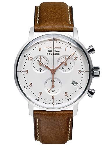 IRON ANNIE Bauhaus Herrenuhr Quarz Chronograph weiß mit braunem Lederarmband 5096-4