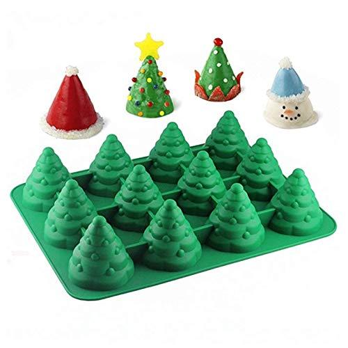 3D Christmas Tree Fondant Mold Christmas Silicone Mold for Cake Cupcake Decoration (Green)