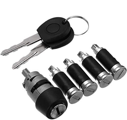ProPlip - Juego de 4 cerraduras para puertas y barriles para Volkswagen T4 Transporter Caravelle MK IV 701837205 + 2 llaves de contacto