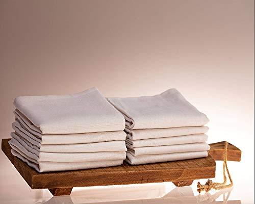 Castejo 10er Pack weiße Geschirrtücher/Halbleinen 45% Baumwolle 55% Leinen/Trockentücher/Küchentücher/Trockner/Gastronomie/Restaurant Farbe weiß Größe: 50x70cm CA29/10