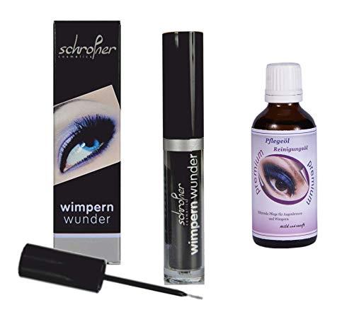 Wimpernserum, Schrofner Wimpernwunder - Eyelash Serum für lange, dichte Wimpern/Augenbrauen (1 x 6ml + Wimpernpflege)
