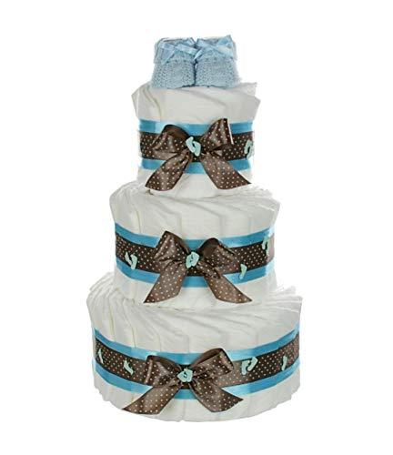 dubistda© XXL Windeltorte für Jungen mit Babybooties blau / 59-teilig/Geschenk zur Geburt / 3-stöckig
