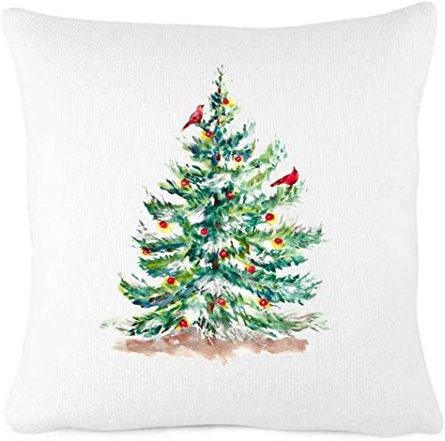 Funda de almohada con diseño de árbol de Navidad clásico con pájaros cardenales rojos, decoración de Navidad