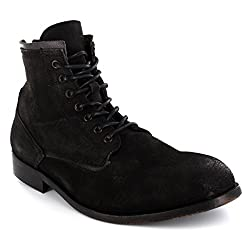 Mens H By Hudson Railton Lace Up Suede Army Ankle High Smart Boots Shoes - Black - 10
