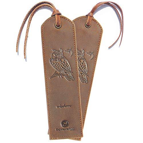 Handgefertigtes Leder Lesezeichen mit Eule Design + Traditionellem Quasten Lesezeichen Echtleder Einzigartige Geschenke Für Frauen, Männer, Kinder & Freunde - 2 Leather Bookmarks